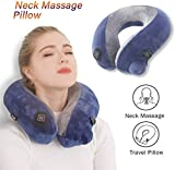 BestMaxs Massage Neck Pillow Inflatable Travel Massager for Airplane Train Car Home U Shape Vibration Pillow Pain Relief for Shoulder Back Lumbar Leg
