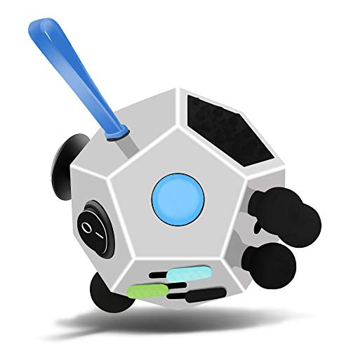 Fidget Dodecagon –12-Side Fidget Cube Relieves Stress and Anxiety Anti Depression Cube for Children and Adults with Autism (A2 White)