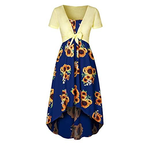 FOTBIMK Vestidos de mujer vintage con estampado de girasol de manga corta con cuello en V y vestido de cóctel casual