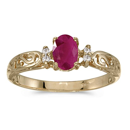 10k Yellow Gold Oval Ruby And Diamond Ring (Size 5)