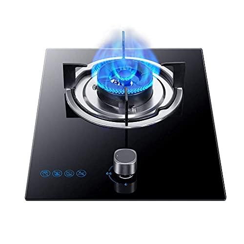 XBR Professionell gasspis, kompakt gasspis 5,0 KW inbyggd köksbrännare, svart gas på glasspis/spis/spishäll, lämplig för naturgas och propan gas [Energiklass A] (NG)