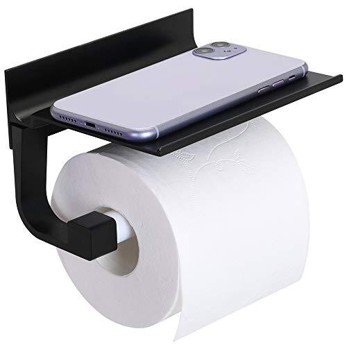 Toilettenpapierhalter Selbstklebend mit Ablage Ohne Bohren Toilettenpapierrollenhalter Aluminium WC Rollenhalter Selbstklebend Wandmontage Papier Halter für Küche Badzimmer