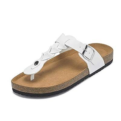 Amazon - Save 45%: Womens Cork Flip Flop Sandals T Strap Buckles Braided Thong Slides Flat…
