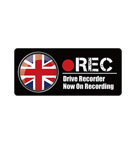 Biijo ドライブレコーダー 防水・耐熱 ステッカー シール ドライブレコーダーシール ドライブレコーダーステッカーあおり運転対策 国旗 (B.イギリス, 四角(縦75mm×横170mm))