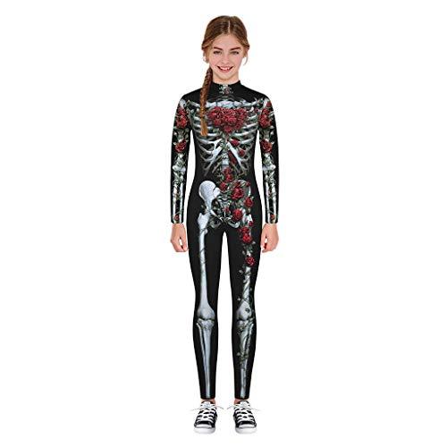 Disfraz Halloween niña 7-14 años, Mono de Manga Larga con Estampado de Esqueleto Digital de Dibujos Animados de Halloween para niños Mono