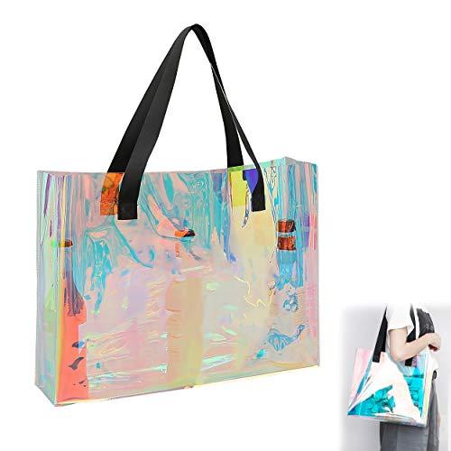 Bolso Transparente Holográfico Bolso de Compras Rainbow para Mujer Bolsa de Playa de Gran Capacidad Adecuado para Ocasiones al Aire Libre