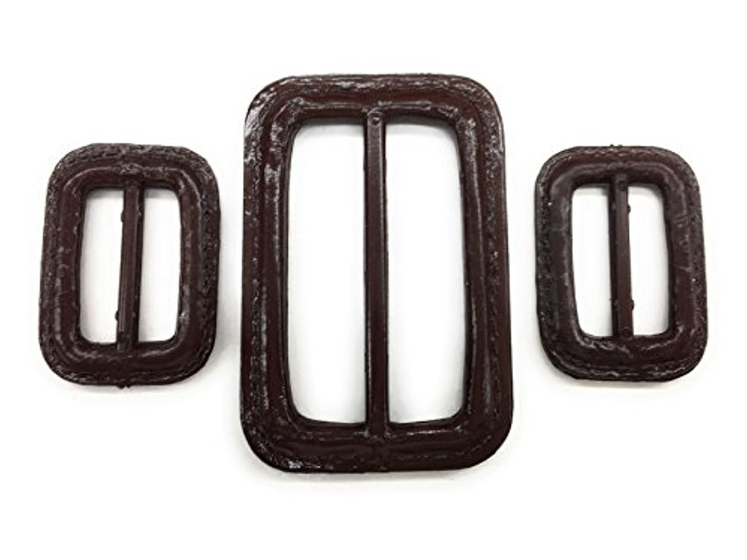 BROWN BUCKLE SET (3 PC) Faux LEATHER ,TRENCH AND RAIN COAT