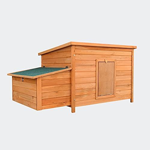 Wiltec Hühnerstall rotbraun 136x74x70cm mit Nistkasten und ausziehbarer Schale für Reinigung, Holz