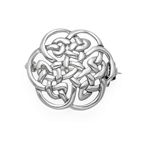 Broche celta redondo de plata de ley, tamaño: 20 mm, peso: 3 g, broche celta de plata 9018/HN