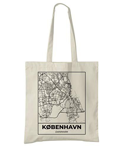 Super Cool Totes Kopenhagen, Dänemark, Stadtplan Einkaufstasche (Design 5)