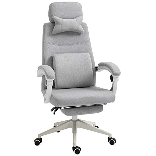 Vinsetto Home Office Chair w/Manual Footrest Recliner Padded Modern Adjustable Swivel Seat w/ 2 Pillows Armrest Ergonomic Grey