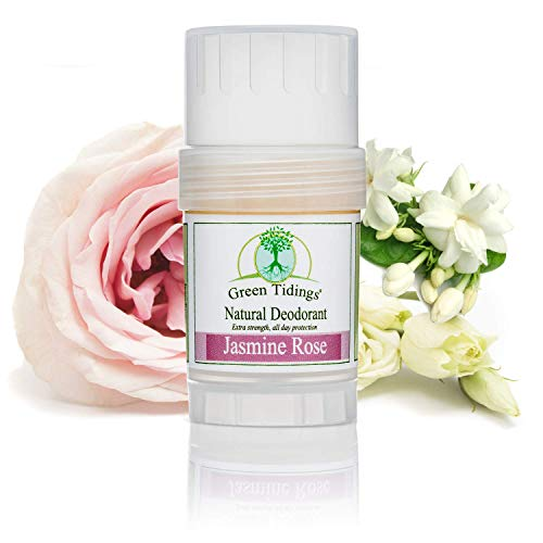Green Tidings Natural Deodorant - Jasmine Rose 1 oz. - Extra Strength, All Day Protection - Vegan - Cruelty-Free - Aluminum Free - Paraben Free - Non-Toxic - Solid Lotion Bar Tube