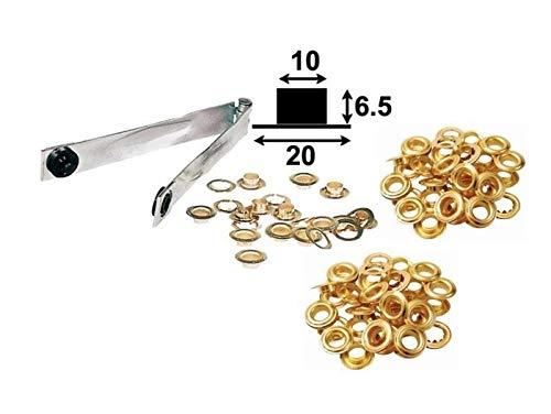 Ösenzange mit 50 Ösen 10 mm Innendurchmesser