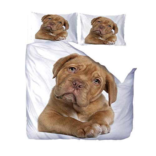 LOVEKKK Duvet Cover with Animal dog 55.1x78.7 inches Printed Duvet Cover Set with Zipper Closure + 2 Pillowcases - Ultra Soft Hypoallergenic Microfiber Quilt Cover