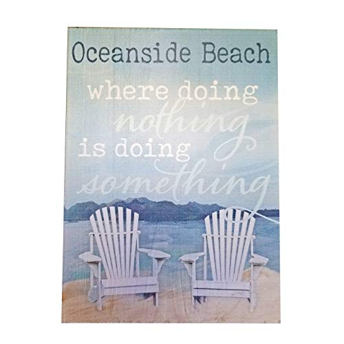 """XYZ Boat Supplies Oceanside Beach Where Doing Nothing is Doing Something - Wood Block Sign – 7.25"""" x 5.25"""" x 1"""" - USA Made"""