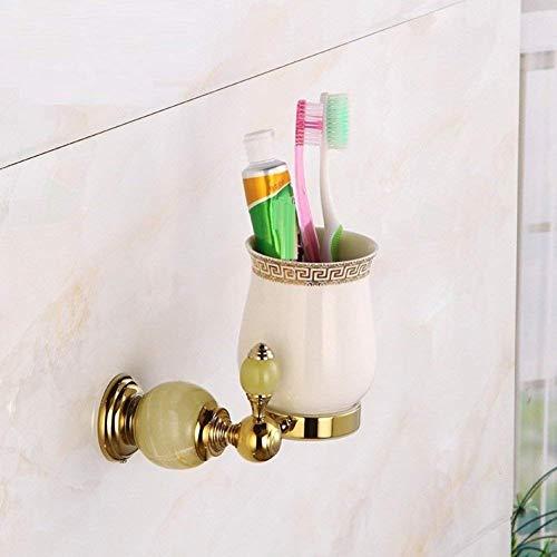 YSJ koper goud jade mondwater houder keramiek mondwater mok, Europese antieke badkamer muur tandenborstel cup