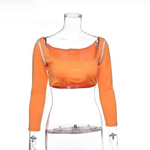 Justtime dressoir met lange mouwen T-shirt mode reflecterend dunne yoga-wear Medium oranje