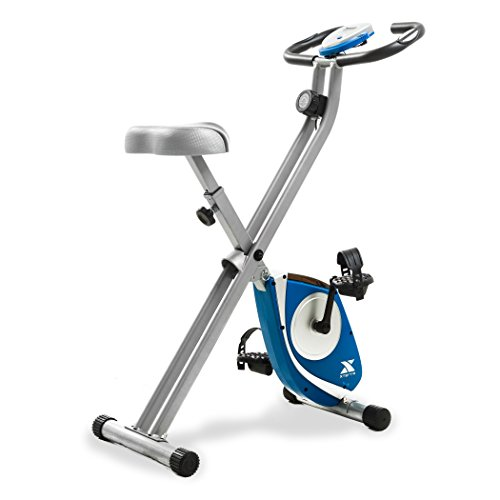 Xterra FB150 Folding Adjustable Magnetic Upright Exercise Bike for Home Gym, Portable X-Bike with LCD Monitor and Pulse