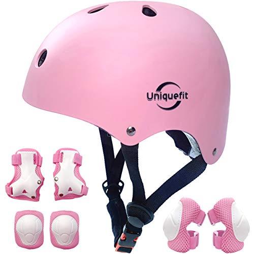 Casco Ajustable para niños y Equipo de protección, Cascos y Almohadillas para Bicicletas para niños pequeños, Rodilleras, Coderas y muñequeras (Pink, S(3-8years Old))
