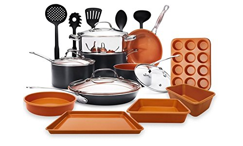 Gotham Steel 20 Piece All in One Kitchen Cookware + Bakeware and Utensil Set with Non-Stick Ti-Cerama Copper Coating – Includes Skillets, Stock Pots, Cookie Sheet Baking Pans and 5 utensils
