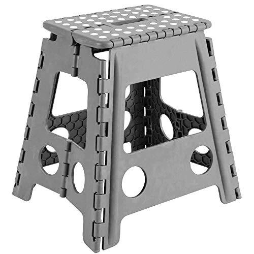 Acan Taburete Plegable PVC Infantil Multiuso MAX 150 kg (Gris, 29 x 22 x 39 cm)