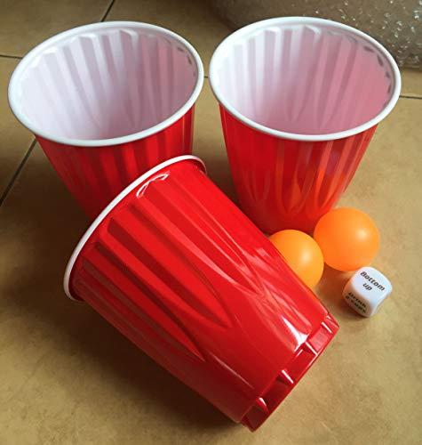 A1SONIC® - Vasos de fiesta desechables de plástico rojo americano de 18 onzas (beer pong) (paquete de 24)