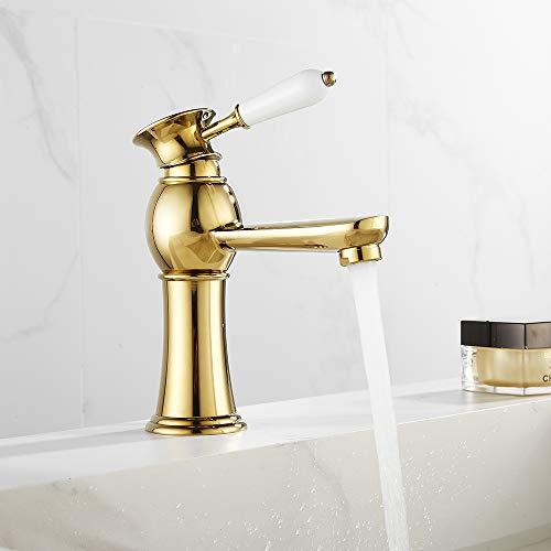Waschtischarmatur Retro Gold Badarmatur für Waschbecken, Antik Glänzende Einhebel Mischbatterie Kalt- und Warmwasser