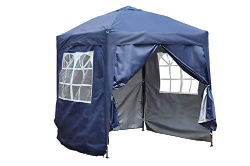 BIRCHTREE Waterproof 2m x 2m Pop Up Gazebo Marquee Garden Awning Party Tent Canopy 210D Oxford Cloth Powder Coated Steel Frame With Anchor Kits Blue