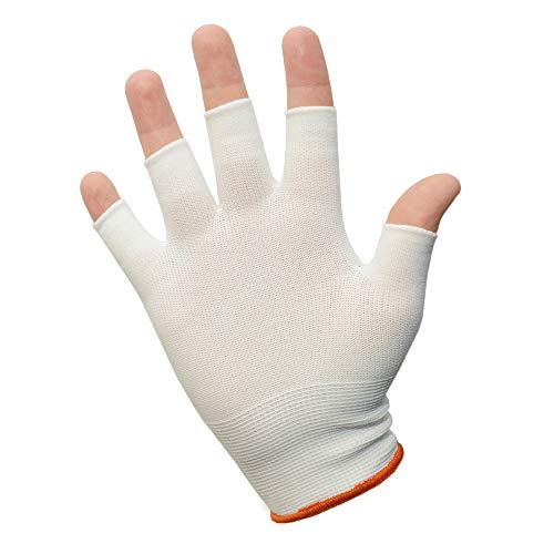 12 Pairs of INTEGRITY Reusable Protective Half-Finger/Fingerless Nylon Glove Liner, (Medium) White