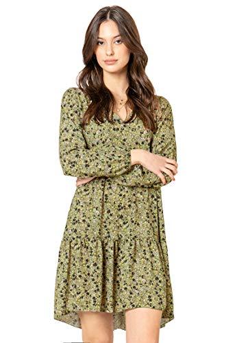 Sublevel Damen Kleid mit Blumen-Muster Langarm Herbst Frühling Light-Green S/M