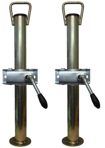 leisure MART A pair of trailer prop stands corner steadys with handle 34mm diameter x 600mm length with split clamps Pt no. LMX1514