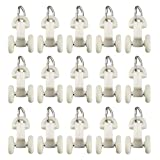 uxcell Curtain Track Rollers Plastic Twin Wheel Carriers Drapery Rail Sliding Glider for Window Shower Curtain Tracks 14mm Wheel Dia 30 Pcs