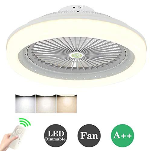 HKLY Ventilador de Techo LED Lámpara, Creative 80W Regulable Ventilador de Techo Invisible Luz de Techo Control Remoto Tiempo Ventilador Luz para Sala De Estar Dormitorio Habitación Infantil, 80W,Gris
