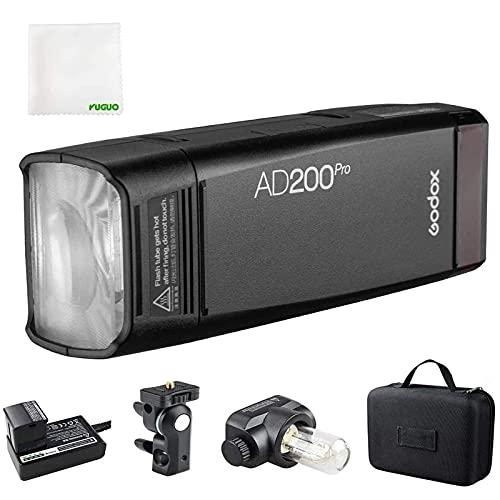 Godox AD200Pro,AD200Pro TTL 2.4G HSS 1/8000s Luz de bolsillo de doble cabeza 200W con batería de litio de 14.4V/2900mAh, 500 termos de potencia completa, reciclaje de 0.01-1.8s