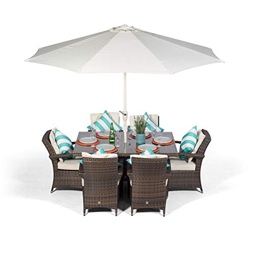 Arizona Luxury Rattan Dining Set | Rectangle 6 Seater Brown Rattan Dining Set | Outdoor Poly Rattan Garden Table & Chairs Set | Patio Conservatory Wicker Garden Dining Furniture with Parasol & Cover