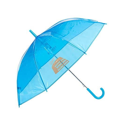 GOTTA - Paraguas Infantil niño/niña Transparente Color. Antiviento y automático. Dibujo Ciudades - Azul
