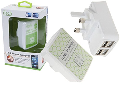 4 USB Power Netz-Stecker-Adapter i Phone/Tablet/Kamera/Ipod Ladegerät Multi 4 Ports