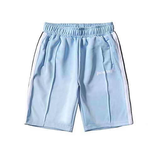 Shorts Palm Angel Casual Shorts Klassische Hosen Männer und Frauen Liebhaber Sommer Side Rainbow Striped Ribbon Rainbow Retro Sports Shorts (M,Hellblau)