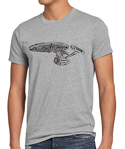 style3 Astronave I Camiseta para Hombre T-Shirt Trek Trekkie Star, Talla:XL, Color:Gris Brezo