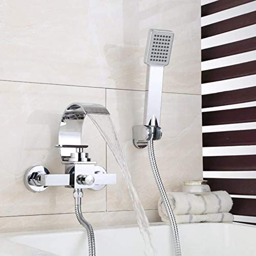 ERGDFH Chrome Widespread Waterfall Tub Filler Faucet with Handheld Shower, Bathtub Faucet Wall Mounted, One of The Best Decorations in The Bathroom