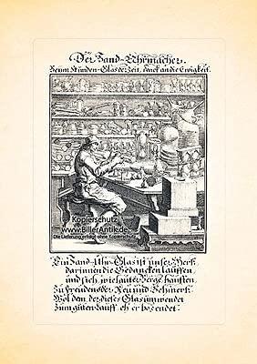 Der Sand Uhrmacher Sanduhr Zeit Uhren Kupferstich Christoph Weigel Berufe 141