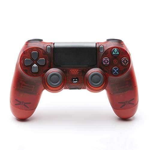 Controller für PS4, USB Lade Bluetooth Gamepad, Kabelloser Joystick mit Audio Buchse Dual Vibration und Touchpad,Crystal red