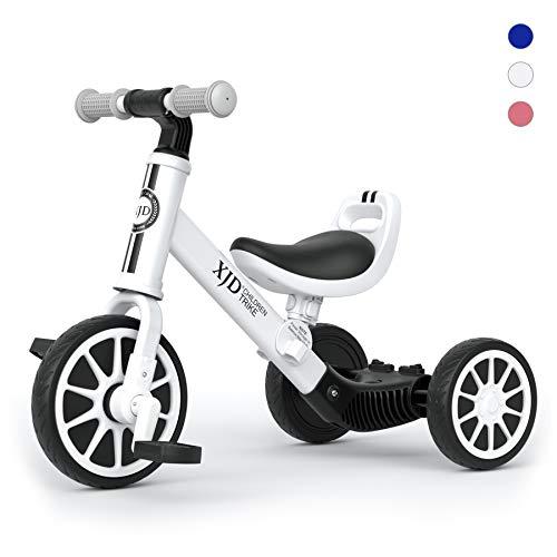 XJD 3 EN 1 Triciclo para Niños Bicicleta para bebé 1-3 años con Pedales Desmontables Asiento Elevador para Ajustar Alturas Regalo de cumpleaños (Bianca B)