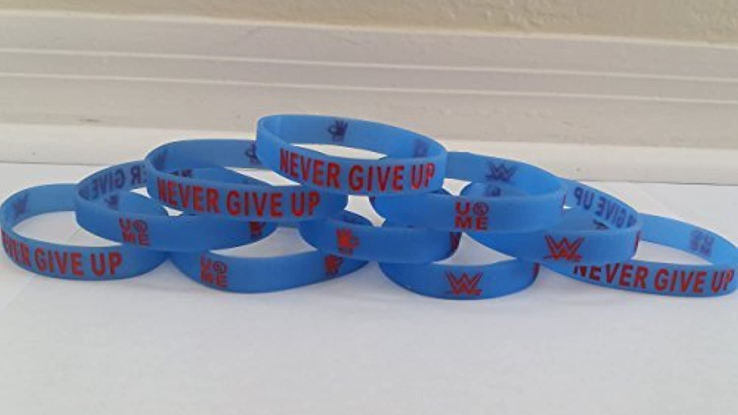 WWE - Glow in the Dark - JOHN CENA  NEVER GIVE UP  bracelets kids party favors (10 pack)