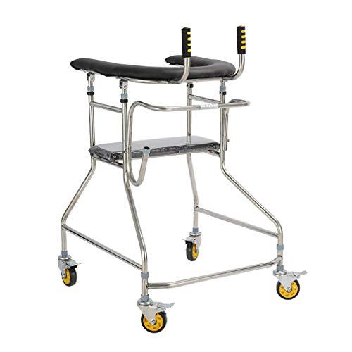 BANANAJOY Ayuda for caminar con el brazo acolchado de apoyo y el freno 360 ° de rotación de la rueda 4 ruedas Walker Andador for los ancianos con movilidad limitada antideslizante bastón con el Hospit