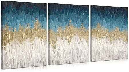 B BLINGBLING Navy Blue Abstract Wall Art Poster 3 Panels Canvas Picture Artwork Blue and Gold product image