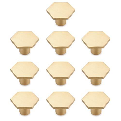 Sayiant - Confezione da 10 pomelli in ottone massiccio per cassetti, armadietti, scrivanie, cassettiere