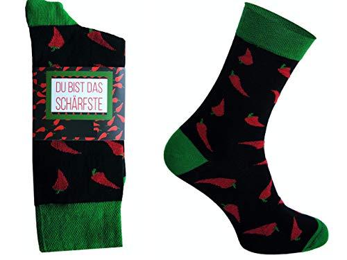 CHiLI Lifestyle Socks - Motivsocken Lustige Socken Bunte Socken Witzige Socken Verrückte Modische Ausgefallene Socken Mehrfarbige Socken Geschenk Baumwolle Strümpfe Coole Socken Chilis, 36-40