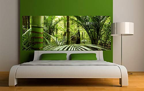 Pegatinas para cabecero de cama, diseño de bosque de bambú, 200 x 78 cm