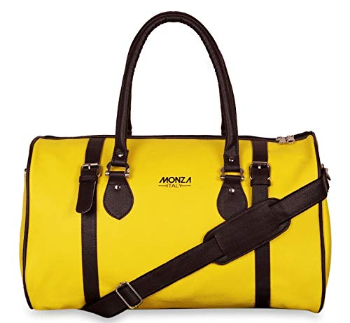 Monza Italy Multipurpose Leatherette Duffle Travel Weekender Bag for Men and Women Color Yellow